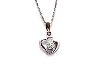 Cz Silver combined Hearts Pendant