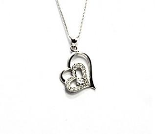 CZ Silver Tilted Heart In Heart Pendant