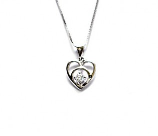 CZ Silver Heart Pendant