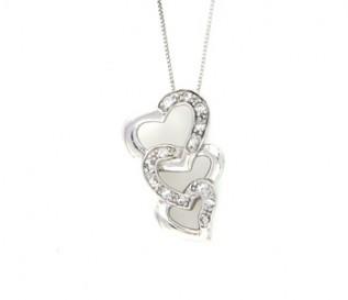 CZ Silver Triple Heart Pendant