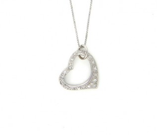 CZ 925 Silver Tilted Heart Pendant