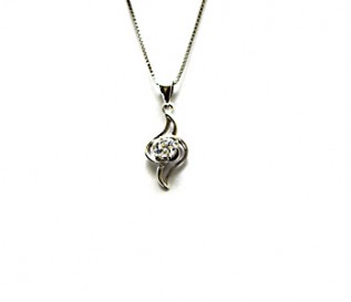 CZ Silver Twisted Pendant