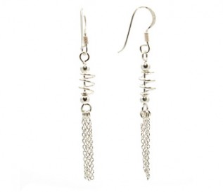 925 Sterling Silver Dangling Spirals Earrings