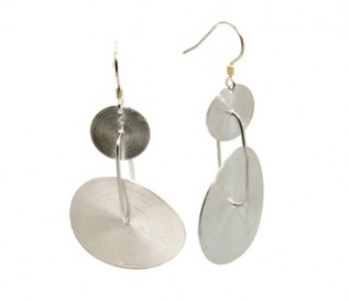 925 Sterling Silver Double Discs Earrings