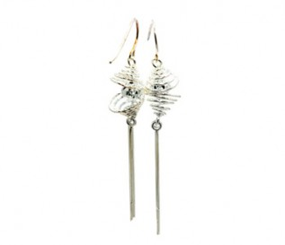 925 Sterling Silver Spiral Lantern Earrings