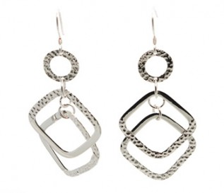 925 Sterling Silver Circles And Diamonds Earrings