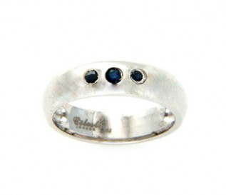 Blue Sapphire Silver Trilogy Ring