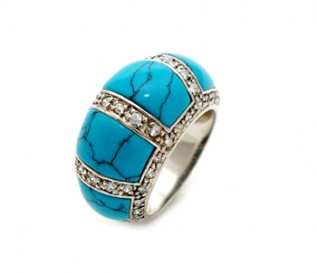 Cubic Zirconia Turquoise Silver Cocktail Ring