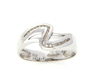 18k White Gold  0.18ct-Diamond Swirl Dress Ring