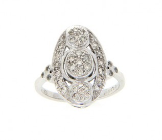 9k White Gold 0.68ct Diamond Vintage Design Dress Ring