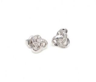 9k White Gold 0.22ct Diamond Love Knot Earrings