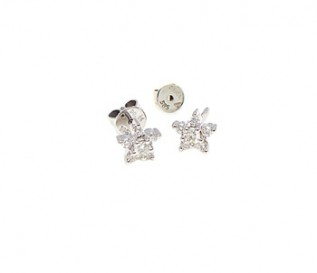 14k White Gold 0.30ct Diamond Star Studs