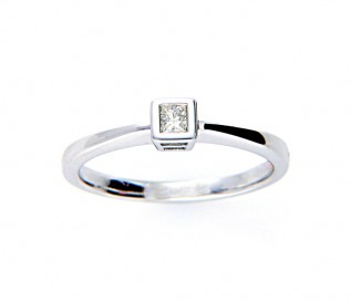 14k White Gold 0.12ct Princess Diamond Solitaire Ring