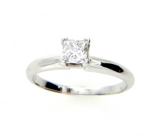 14k White Gold 0.43ct Princess Diamond Solitaire Ring