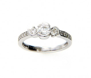 18ct White Gold 0.74ct Diamond Trilogy Engagement Ring