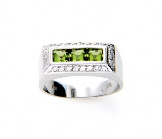 18k White Gold Peridot Ring with CZ
