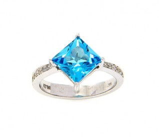 14ct White Gold Princess Blue Topaz Ring with 0.23ct Diamonds