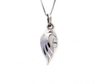 18k White Gold 0.10ct Diamond Angel Wings Pendant