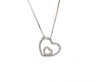 9k White Gold Diamond Tilted Double Heart Pendant