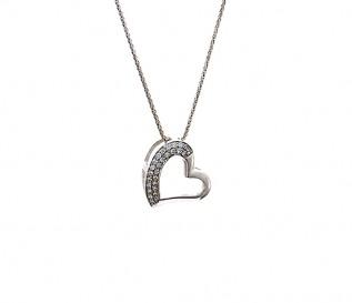 9k White Gold 0.49ct Diamond Tilted Heart Pendant
