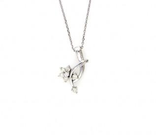 9k White Gold 0.24ct Diamond Flower Pendant