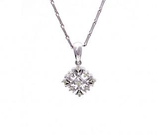 9k White Gold Sun Pendant with Diamonds