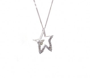 9k White Gold Star Pendant with 0.39ct Diamonds