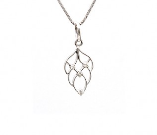 18k White Gold 0.16ct Diamond Leaf Pendant