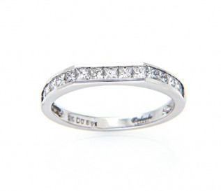 9ct White Gold 0.69ct Princess Diamond Wedding Ring