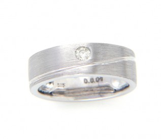 14ct White Gold 0.09ct Diamond 6mm Wedding Ring