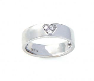 14k White Gold 0.17ct Diamond Heart Wedding Ring