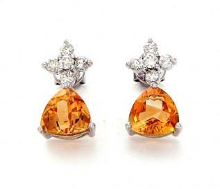 14k White Gold Citrine 0.48ct Diamond Earrings