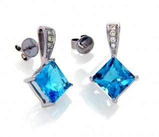 14k White Gold Blue Topaz 0.12ct Diamond Earrings