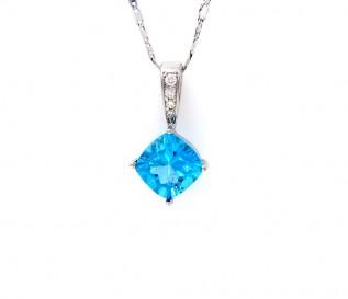 14k White Gold Blue Topaz 0.07ct Diamond Pendant