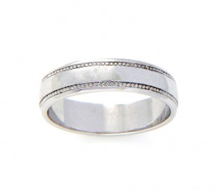 9k White Gold 4mm Beaded Wedding Band