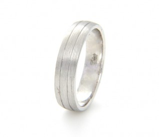 9k White Gold 5mm double Groove Wedding Band