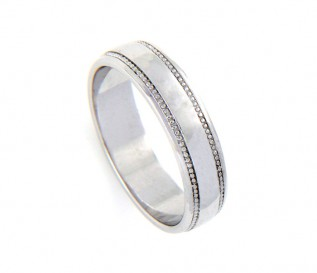9k White Gold 5mm Beaded Wedding Band