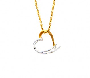 18k White & Yellow Gold 0.06ct Diamond Heart Pendant