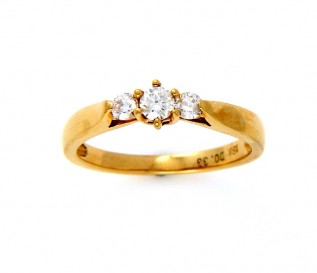 18k Yellow Gold 0.33ct Diamond Trilogy Ring