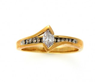18k Yellow Gold 0.49ct Marquis Diamond Engagement Ring
