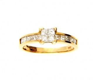 14k Yellow Gold 0.72ct Princess Cut Diamond Ring