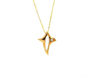 18k Yellow Gold Fish Pendant with Diamonds