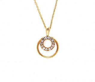 9k Yellow Gold Diamond Duo Circles Pendant