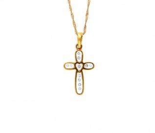 18k Yellow Gold 0.06ct Diamond Cross Pendant