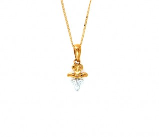 18k Yellow Gold Diamond Bouncing Tigger Pendant