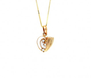 18k Yellow Gold Heart Pendant with 0.06ct Diamonds
