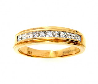 14ct Yellow Gold 0.57ct Princess Diamond Wedding Ring