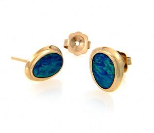 14k Gold Opal Earrings