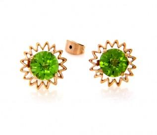 17k Gold Peridot Sun Earrings