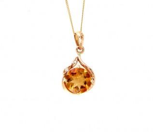 18k Yellow Gold Citrine Diamond Pendant